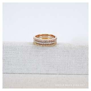 3 Set Band Crystal Ring