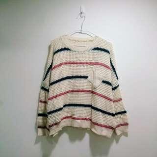 米白條紋粗針織毛衣
