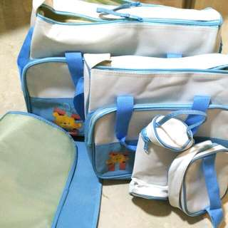 [BN/Trade With Wet Wipes Or Diapers] Set Of 5 Baby Diaper Bag   Blue White