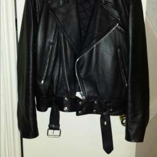New Black Leather Biker Style Size 46 Jacket
