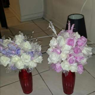 2 Red Vases With Flowers