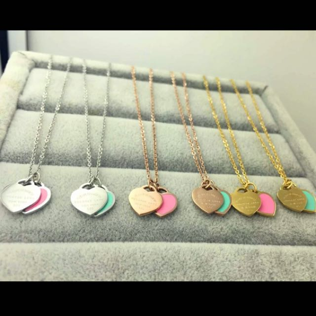 2017 Fashion Luxury Brand Stainless Steel Rose Gold Plated Love Blue Pink Double Heart Pendant Necklace Women Gift