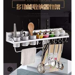 【免運】太空鋁 廚房置物架 壁掛架 收納架 刀架 掛架 調味品 調料架子 #439