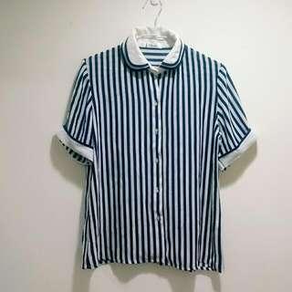 雙層領直條紋雪紡短袖襯衫