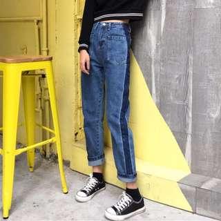 [預購]個性口袋條紋撞色牛仔褲