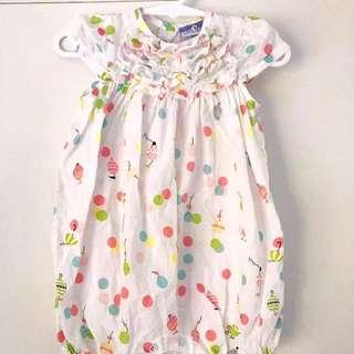 Size 000 - Baby Jumpsuit - Cotton Spots Balloons Pastel