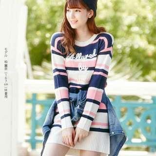 (正品) 夢展望 春天系列 字母條紋長袖針織連身裙 連身洋裝