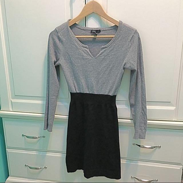 二手灰黑修腰連衣裙針織