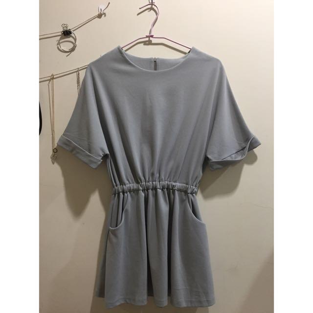 雪紡淺灰氣質短洋裝