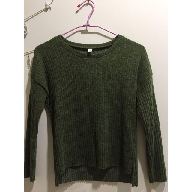 墨綠修身毛衣