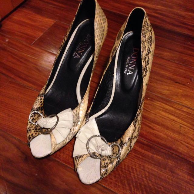 蛇皮紋細根高跟鞋