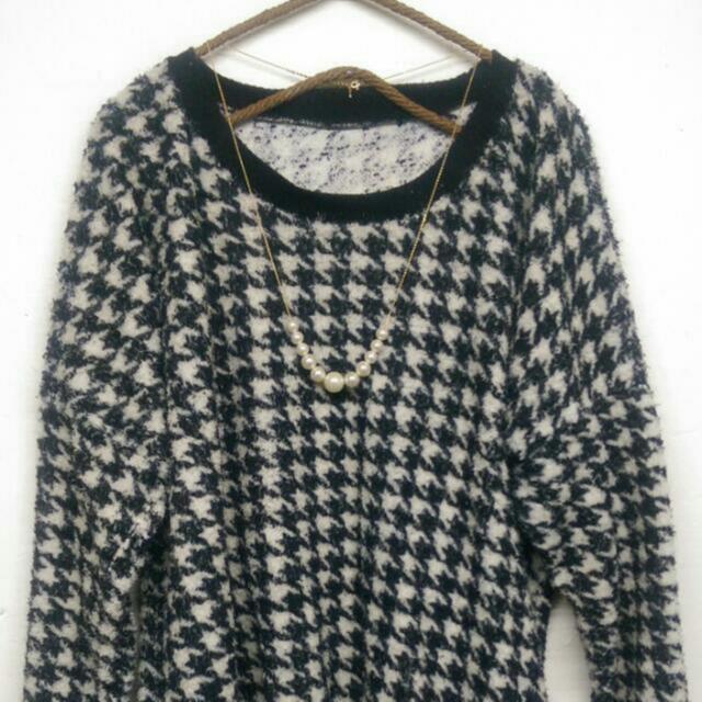 千鳥格紋毛衣