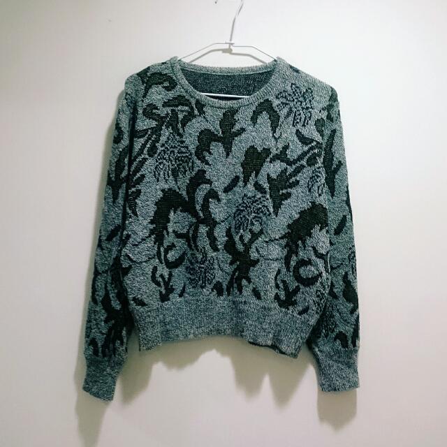 金線花紋粗針織長袖毛衣