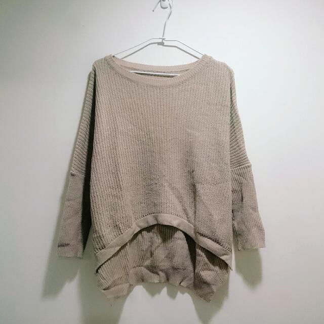 寬鬆前短後長粗針織毛衣