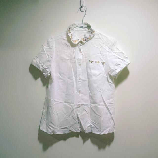 刺袖小花領短袖襯衫