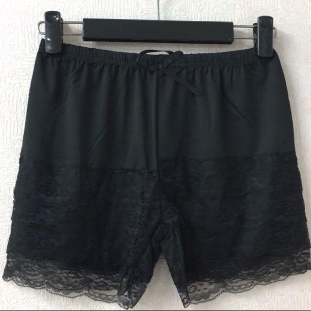 蕾絲褲管安全褲 #黑