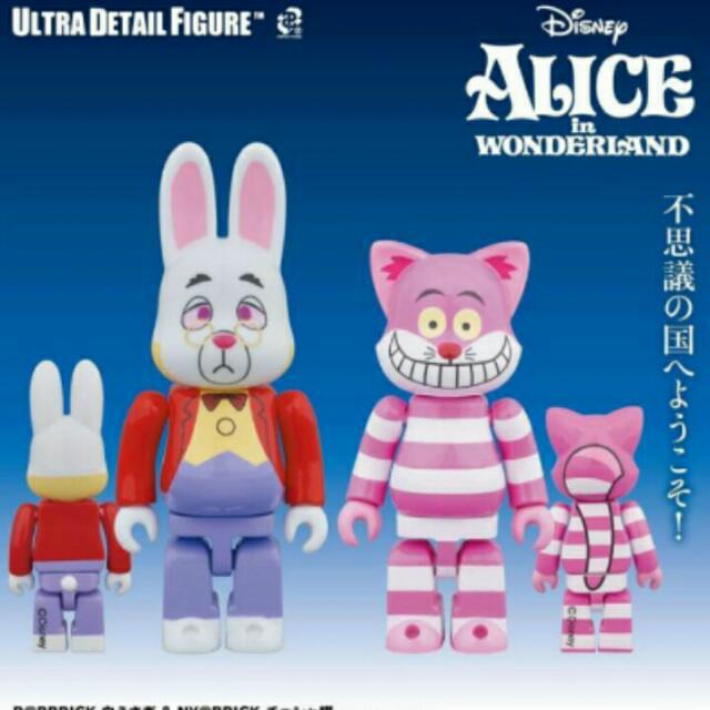 迪士尼愛麗絲夢遊仙境 妙妙貓時鐘兔庫柏力克公仔 BE@RBRICK