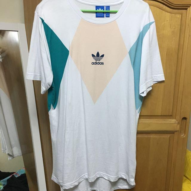 Adidas艾迪達馬卡龍色長版T-shirt T恤