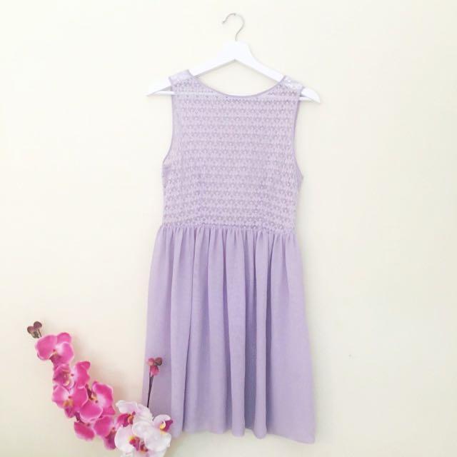 American Apparel Pretty Purple Lace Chiffon Dress