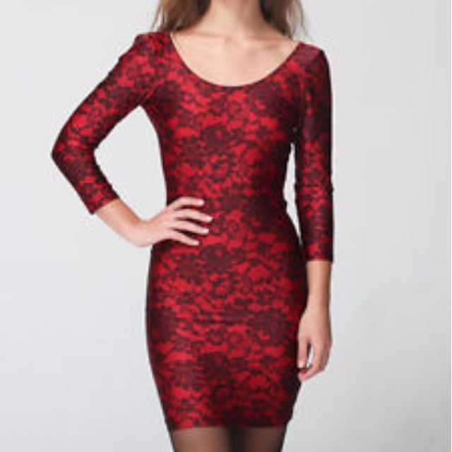 American Apparel Red Lace Pattern Dress
