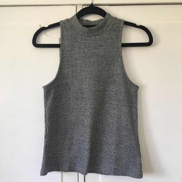 bardot grey high neck top