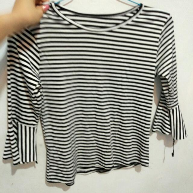 BW Strip Blouse With Mermaid Hand