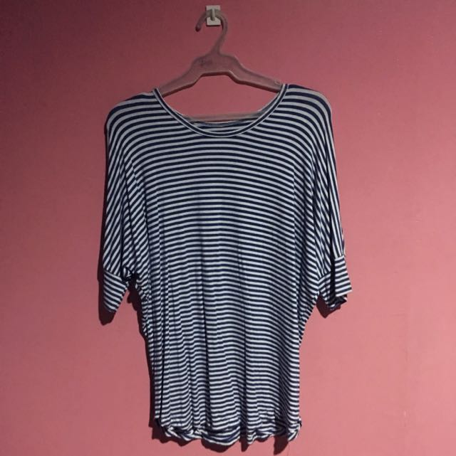 Blue and White Striped 3/4