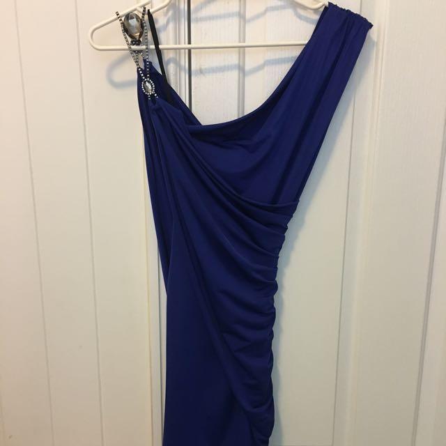 Blue Dress, Above Knee, Figure Hugging, Size S