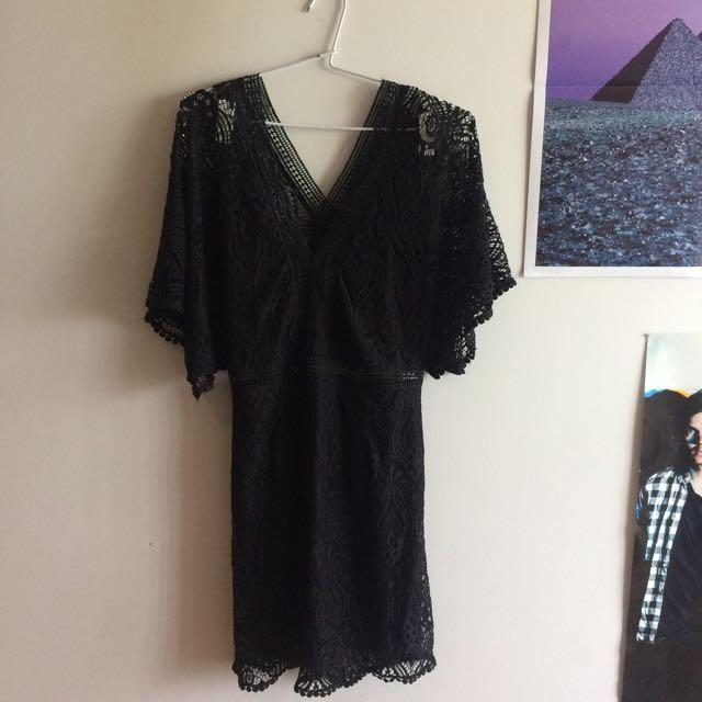 BOHO LACY BLACK DRESS