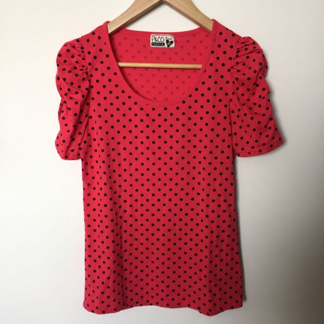 Brand New Pink Polka Dot Top Size M/8/10