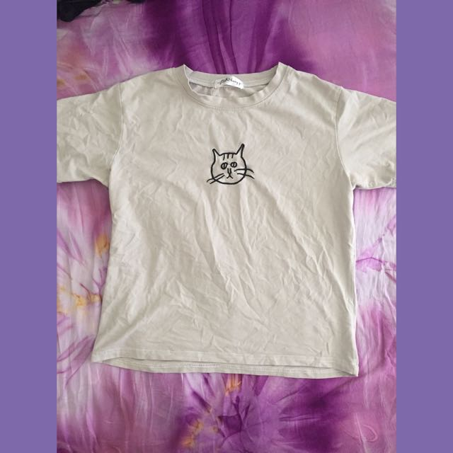 Cat Embroidered Tee