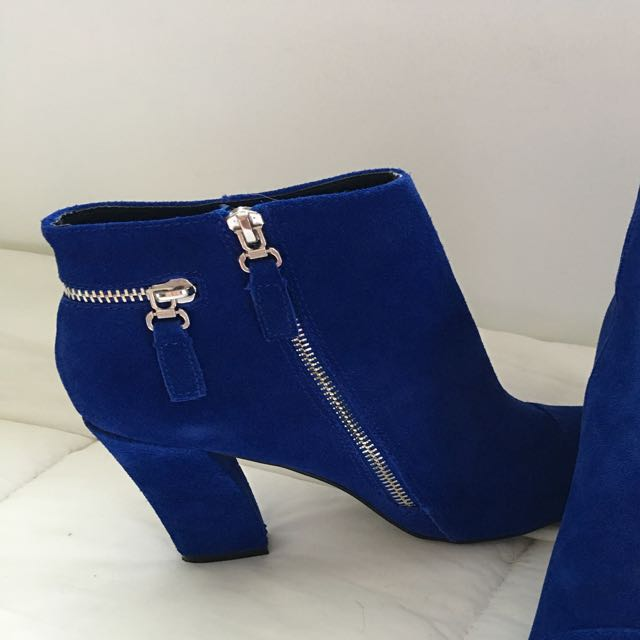 Cobalt Suede Ankle Boots
