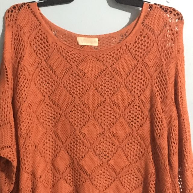 Crocheted Orange Poncho