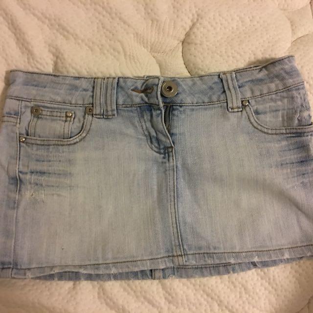 Distressed Denim Mini Skirt, Size 8
