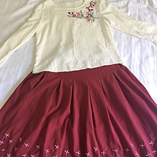 Embroidered linen cloth and dress