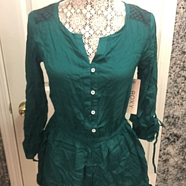 Emerald Green Roxy Romper Size Small