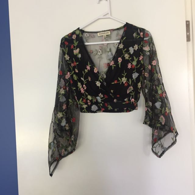 Floral Crop With Flared Sleeves