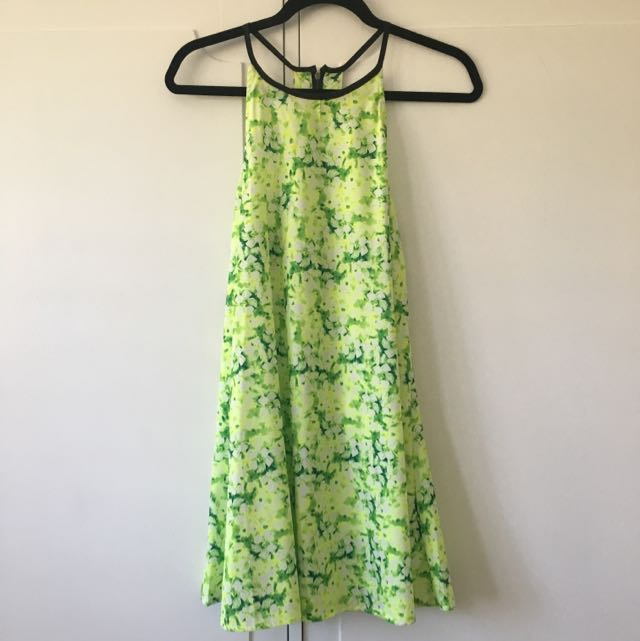 fluro green floral dress