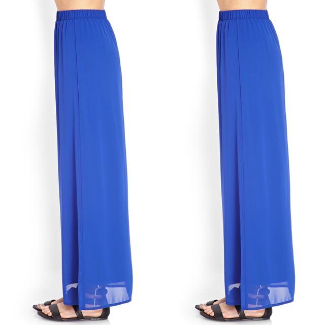 Forever 21 Blue Chiffon Maxi Skirt