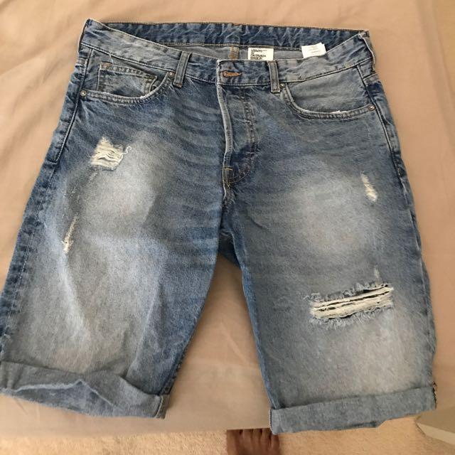 H&M denim Distressed Shorts
