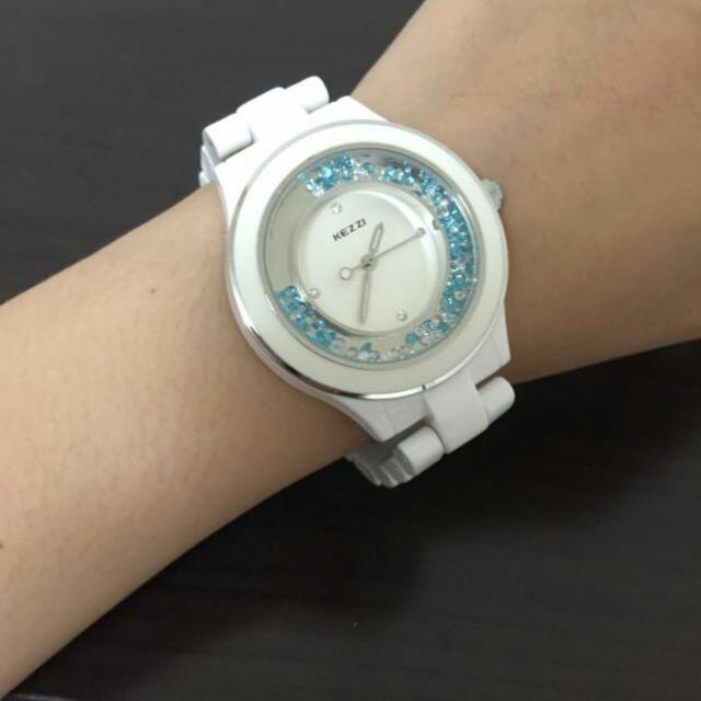KEZZI流砂水鑽陶瓷腕錶