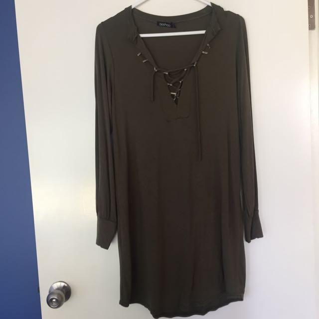Khaki Long Sleeve Dress