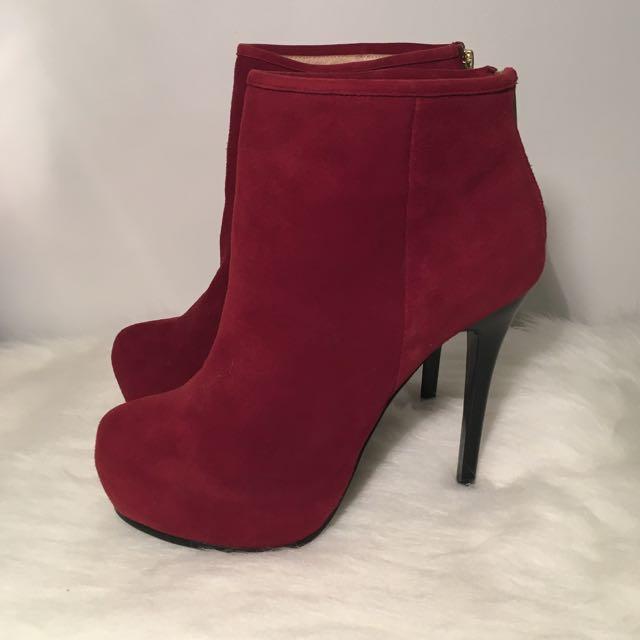 Kookai Red Suede Stiletto Boots