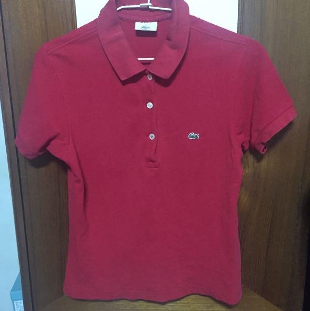 Lacoste紅色polo衫