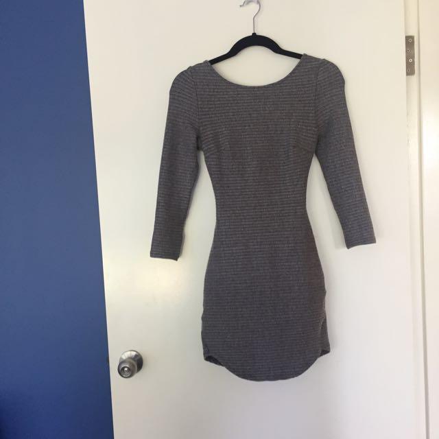 Long Sleeve Dress With Cross Back