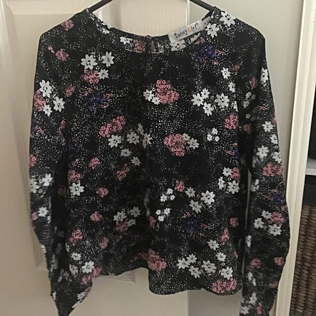 Long Sleeved Polyester Floral Top