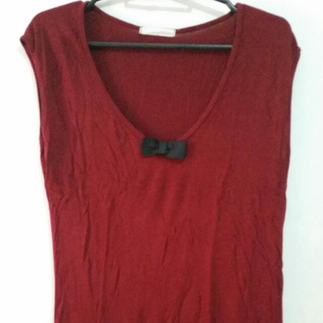 Maroon/Brown Sleeveless Top (For Two)