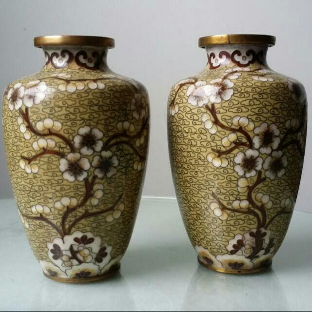 Pair Of Antique Small Chinese Cloisonne Vases Vintage