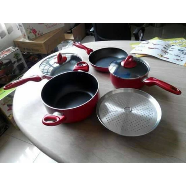 Panci Set Supra Rosemary isi 7pcs Warna Warni Bahan Teflon Tidak Mudah Mengelupas