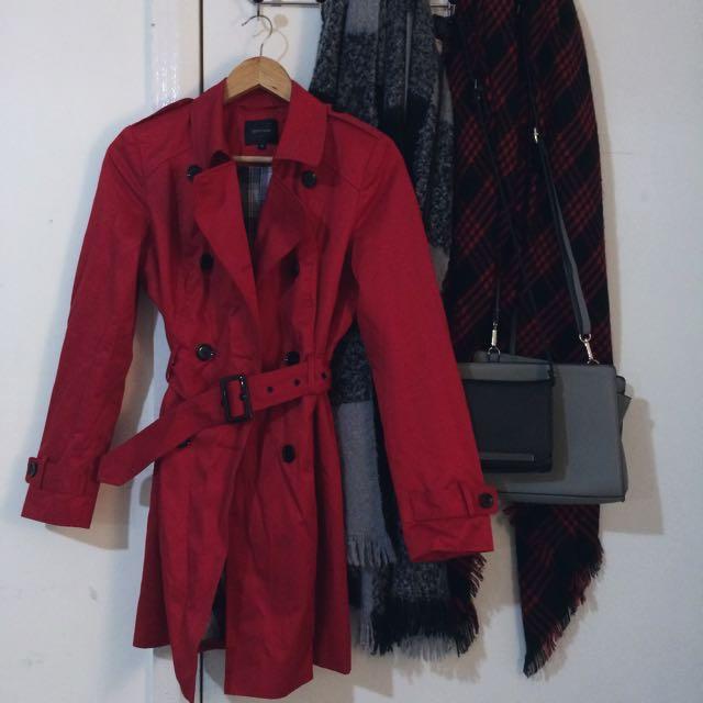 Portmans Trench Coat in Red